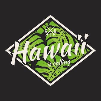 Hawaii-t-stück druck mit mit tropischen blättern.