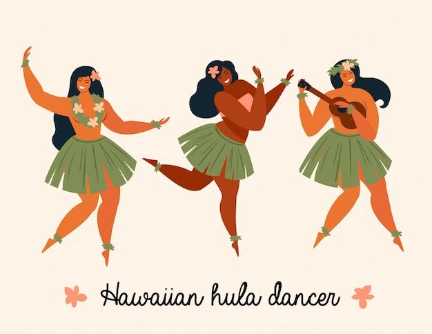 Hawaii-tanz mädchen, die ukulele spielen und hula tanzen