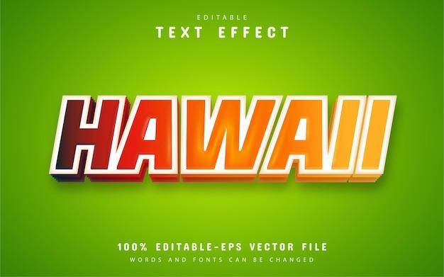 Hawaii-text, texteffekt im cartoon-stil