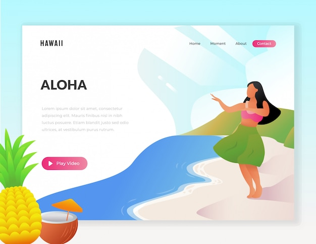 Hawaii urlaub tourist web illustration