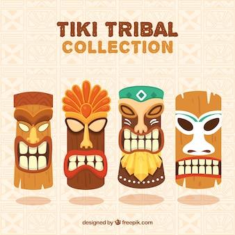Hawaiianische ethnische masken mit flachem design