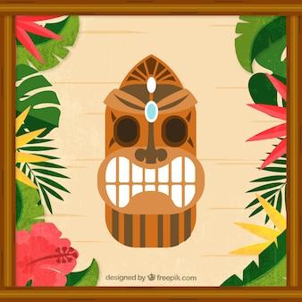 Hawaiianische maske und bunte pflanzen