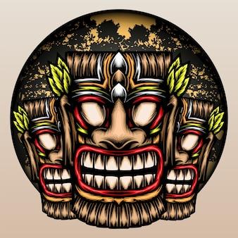 Hawaiianische tiki-maske im dschungel.