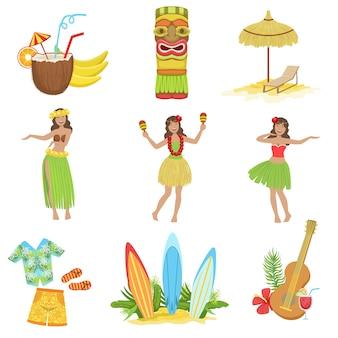 Hawaiianischer urlaubssatz der klassischen symbole