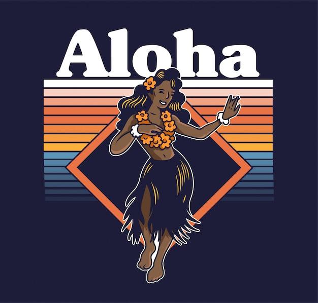 Hawaiianisches hula-mädchen des jungen niedlichen lächelns, das auf der luau aloha-party des strandes tanzt. in lei und gras rock vintage mode trendige sommer print design für t-shirt poster aufkleber abzeichen patch cartoon illustration