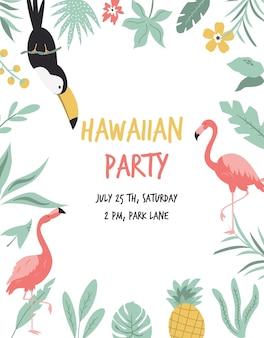 Hawaiische karte mit tukan, flamingo, blumen und palmblättern. einladungsvorlage, banner, karte, poster, flyer vektor-illustration