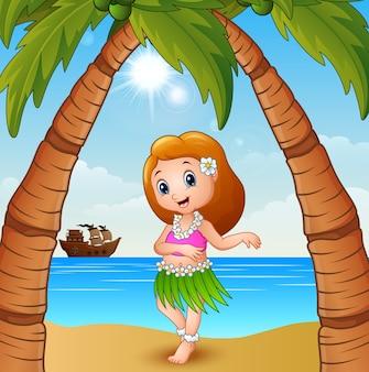 Hawaiisches tänzermädchen auf dem strand