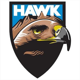 Hawk eagle kopf maskottchen schild logo team