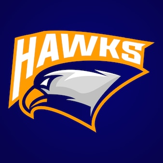 Hawk head logo maskottchen für sportverein