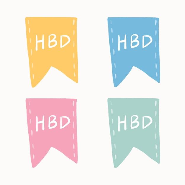 Hbd-abzeichen-aufkleber, dekorativer banner-design-vektor