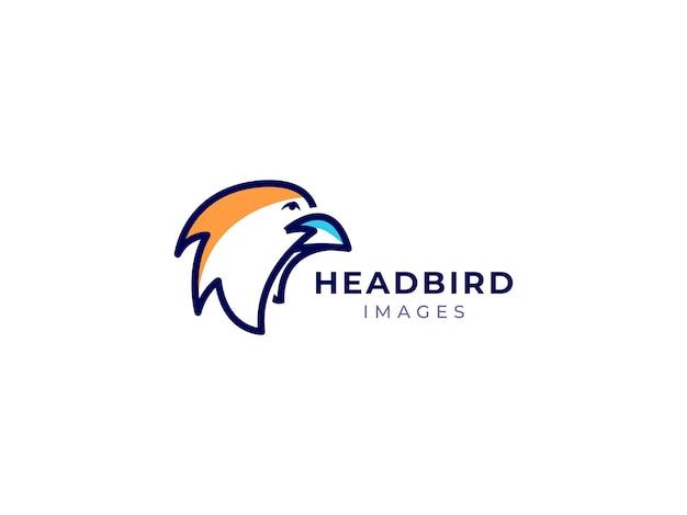 Head bird mono line logo-design-konzept