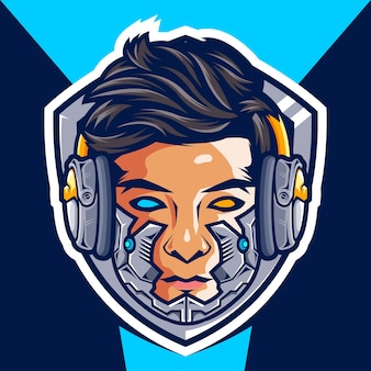 Head cyborg gamer esport logo