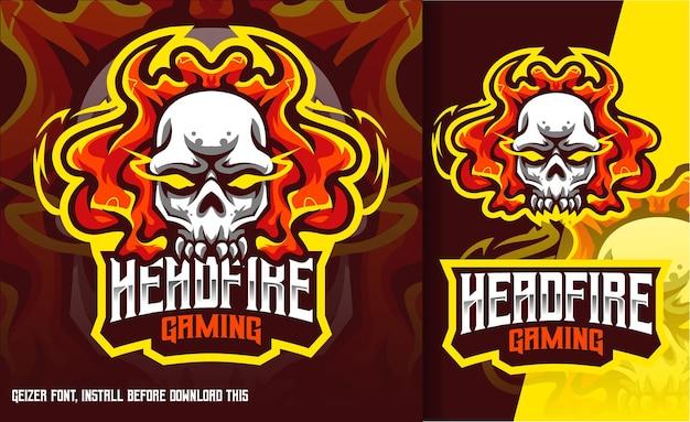 Head fire skull gaming esport logo