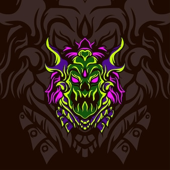 Head green monster für logo-maskottchen-spiele oder andere