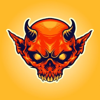 Head horn red devil maskottchen illustrationen
