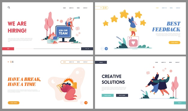 Head hunting, feedback service, creative solution und break time website landing page