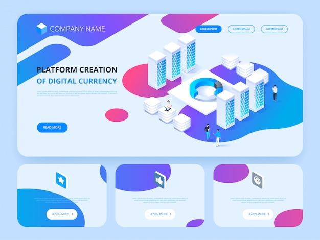 Header für website. kryptowährung und blockchain. plattformerstellung der digitalen währung.