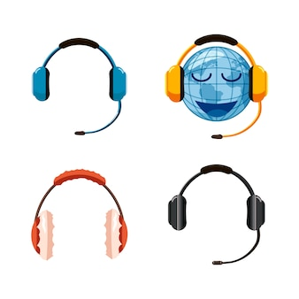 Headset eingestellt. cartoon-set von headset