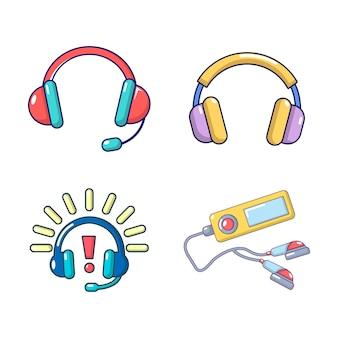 Headsets-icon-set. karikatursatz kopfhörervektorikonen eingestellt lokalisiert
