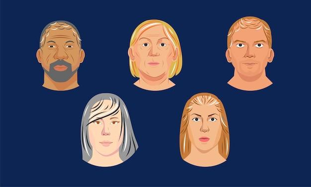 Headshot-menschenporträtillustration die vielfalt der gesichter der völker