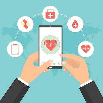 Health-check-konzept der telemedizin-technologie