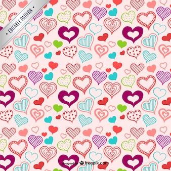 Hearts pattern y handgezeichneten stil