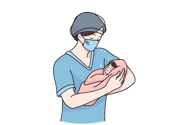 Hebamme oder arzt mit neugeborenen-konzept Premium Vektoren