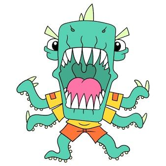 Heftige monster mit scharfen zähnen waren wütend zum angriff bereit, vektorgrafiken. doodle symbolbild kawaii.