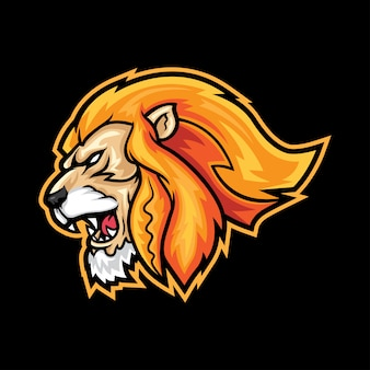 Heftiger löwe-kopf-sport-logo-maskottchen