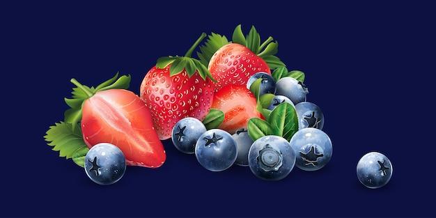 Heidelbeeren und erdbeeren