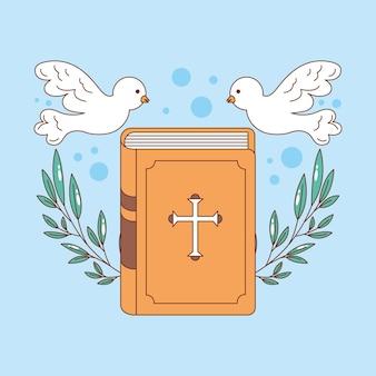 Heilige bibel mit blättern, die mit tauben verziert werden, karikaturillustration
