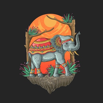 Heilige elefant ganesh hindi gott illustration