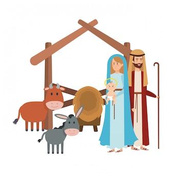 Heilige familie mit maultier- und ochsenkrippenfiguren