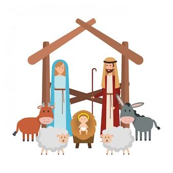 Heilige familie mit tierkrippenfiguren
