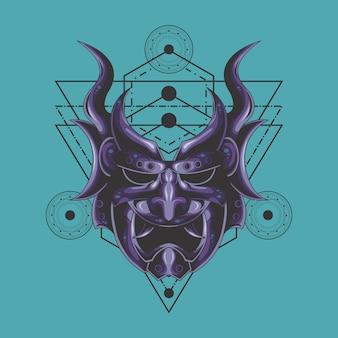 Heilige geometrie der lila dämonenmaske