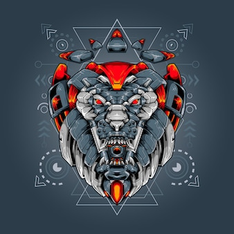 Heilige geometrie des löwenkopfroboters