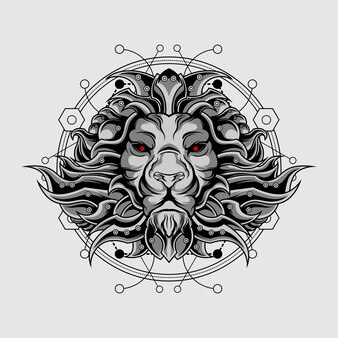 Heilige geometrie des silbernen entscheidenden löwes