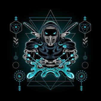 Heilige geometrieillustration des ninja-sportmaskottchenspiels