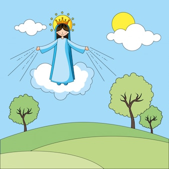 Heilige jungfrau maria karikatur