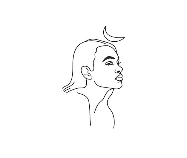 Heilige linie artikone des weiblichen porträts im einfachen stil lokalisiert auf weißem hintergrund