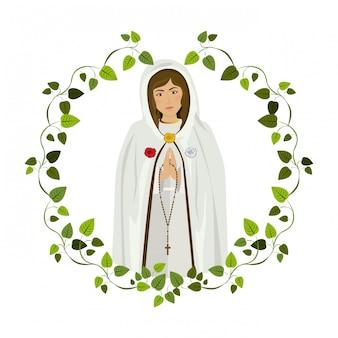 Heilige maria im rahmen der blätter