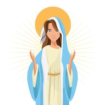 Heilige mary-frauenmädchenkarikatur-religionsheilige ikone