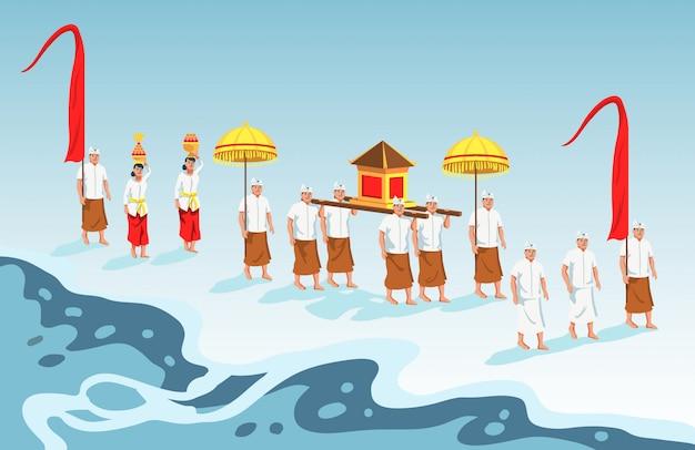 Heilige parade von bali-hindu