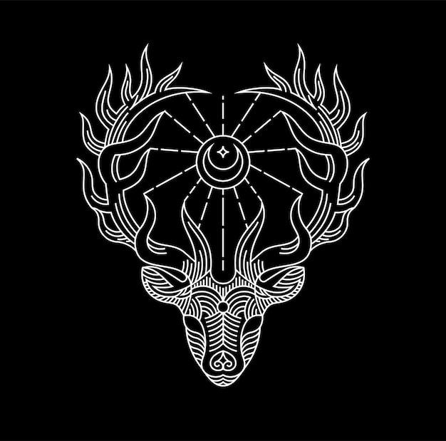 Heilige rotwild wapiti linie kunstgrafik für t-shirt