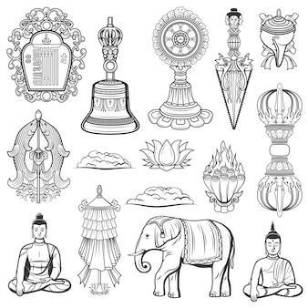 Heilige symbole der religion des tibetischen buddhismus. vektor kalachakra-symbol, tribu-glocke und dharma-rad, kila-messer, muschelschale und goldener fisch, lotus, vajra, siegesbanner und elefant, meditierender buddha