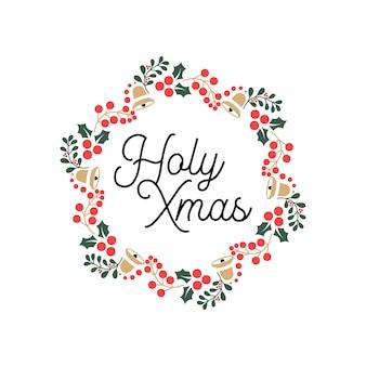 Heilige weihnachten schriftzug typografie zitate mit blumenschmuck