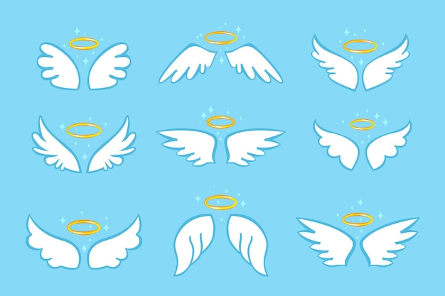 Heiliger engelsflügel mit flachem karikaturvektorsatz des goldenen nimbus