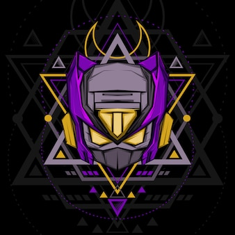 Heiliger geometrie violetter ninja roboter