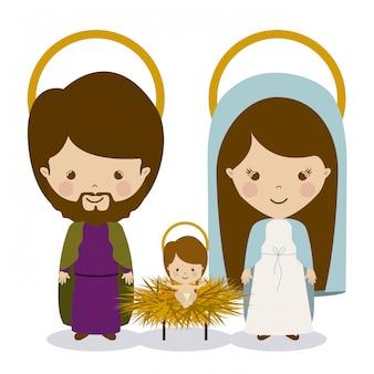 Heiliger joseph, stechpalme mary und jesus-krippe