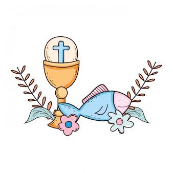 Heiliger kelch mit erstkommunion